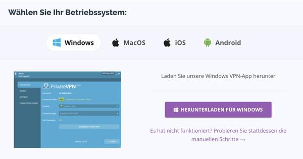 BetriebSystem PrivateVPN