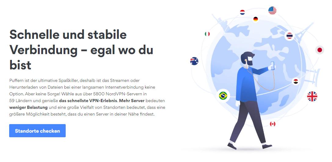 NordVPN schnelle und stabile Verbindung