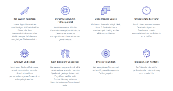Astrill VPN Eigenschaften