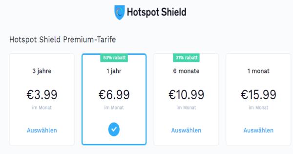 Preise Hotspot Shield
