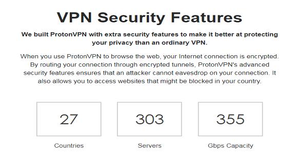 Server und Abdeckung ProtonVPN