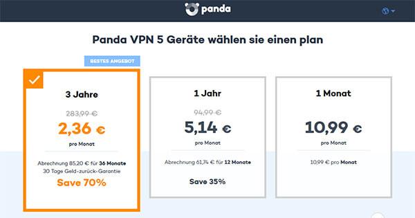 Panda VPN preise