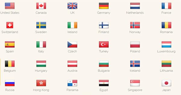 ibVPN-Länder