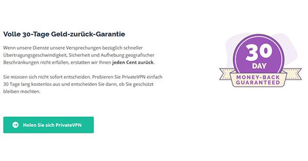 Garantie PrivateVPN
